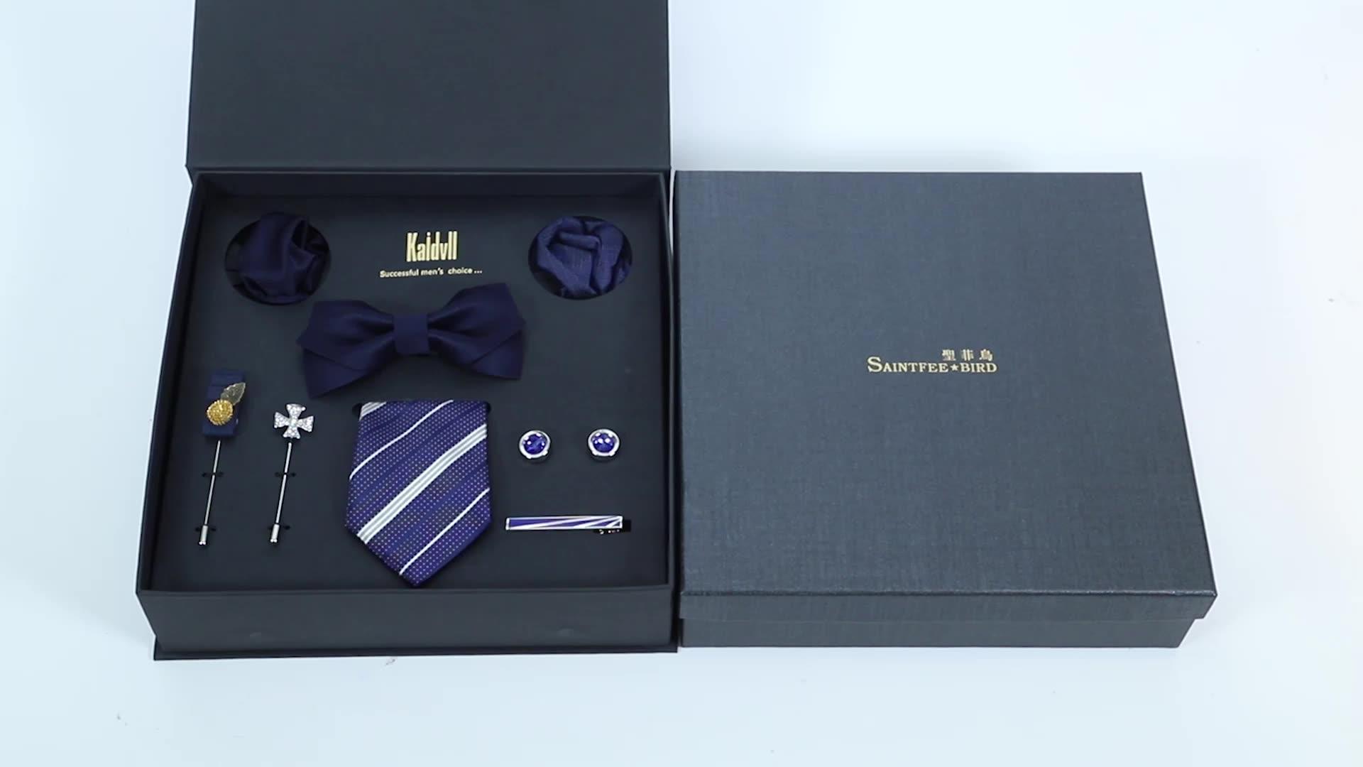 Premium Mens Gift Tie Set Bow Tie  Pocket Squares Tie Clips Silk Necktie For Men