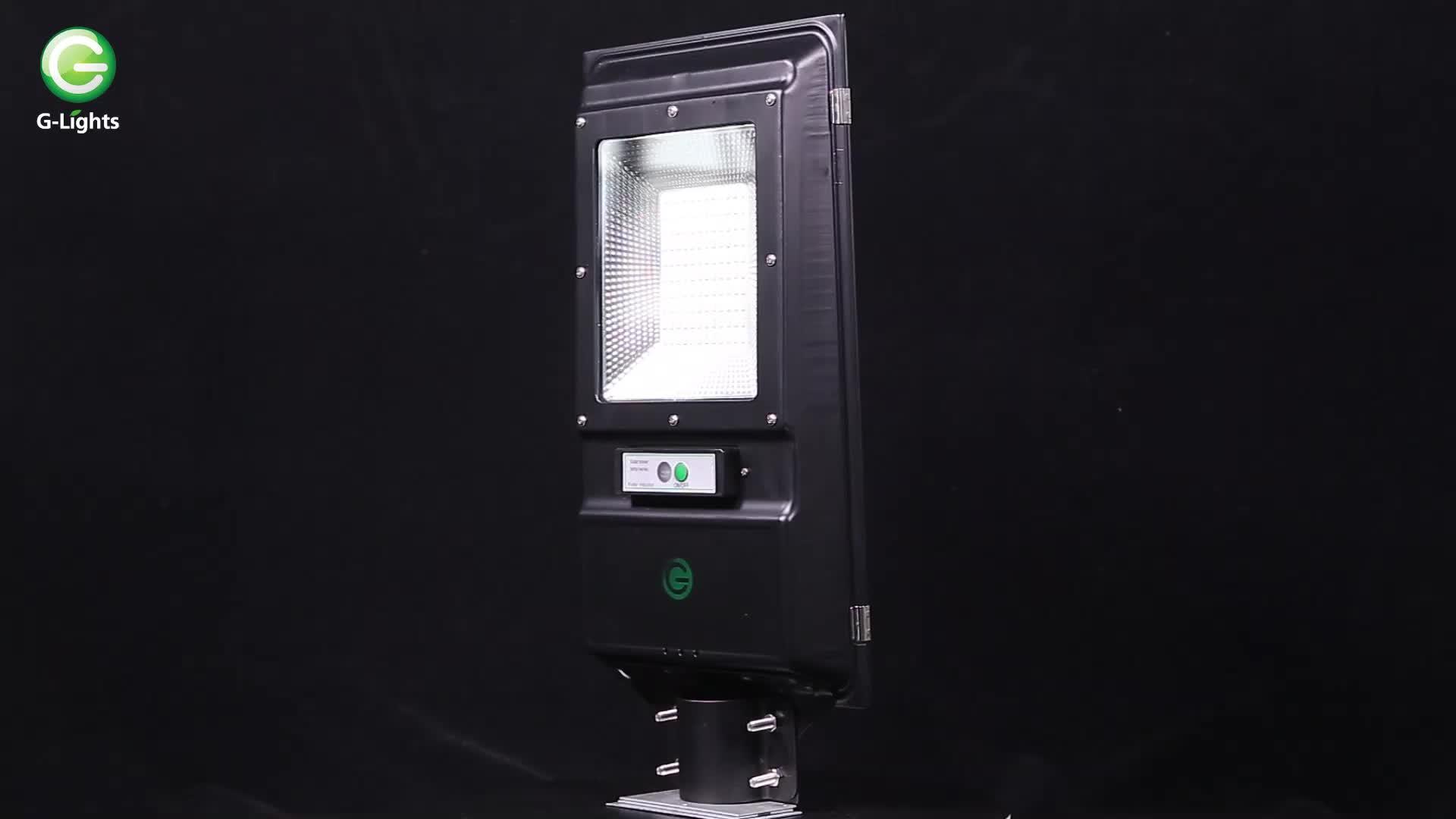 インテリジェント防水ip65屋外60 100ワットオールインワン統合ledソーラー街路灯