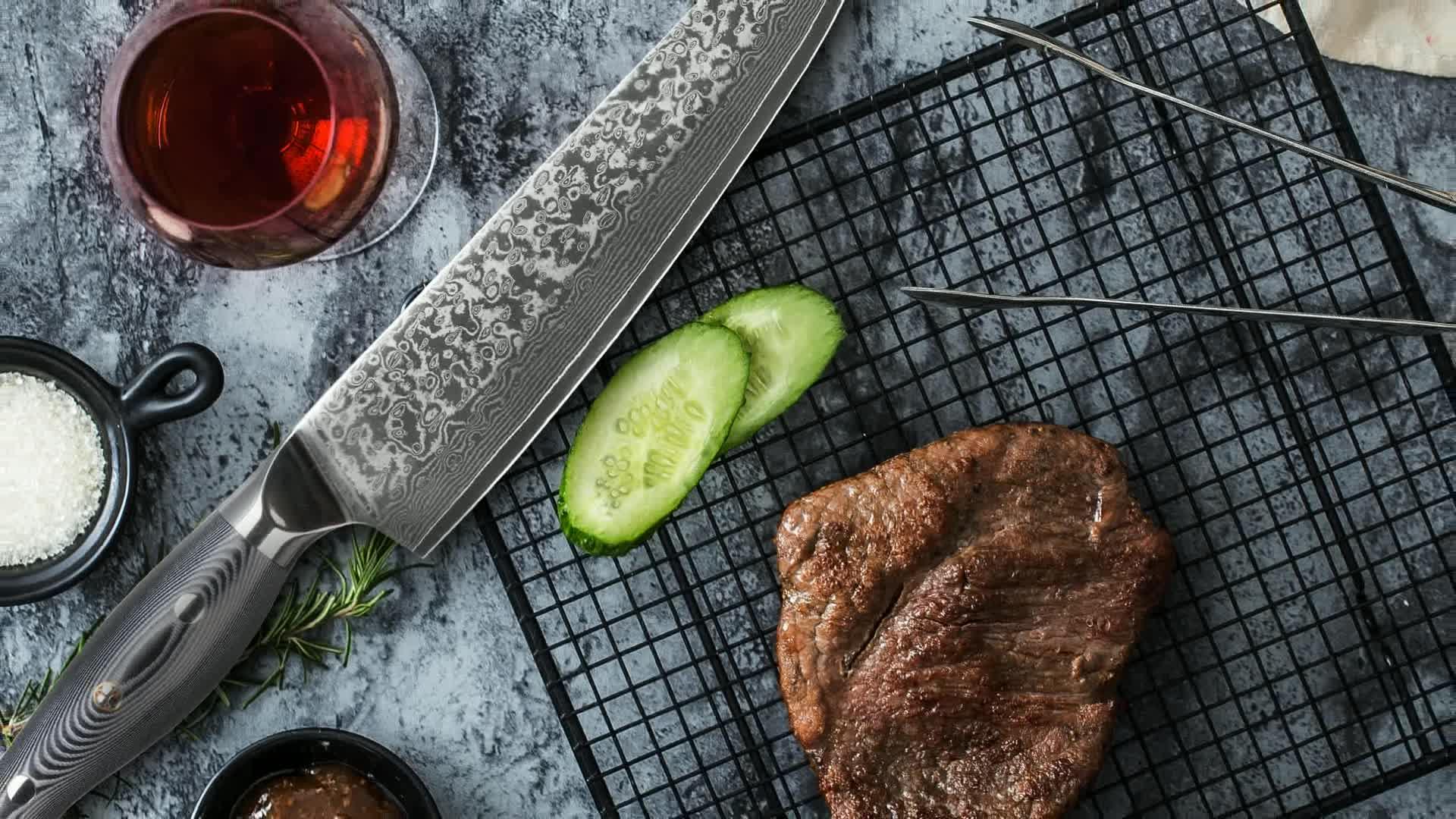 Pakistan VG10 67 layer cutting damascus steel kitchen tool butcher chef knife