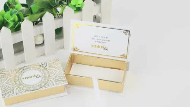 white gold cardboard eyelash boxes custom