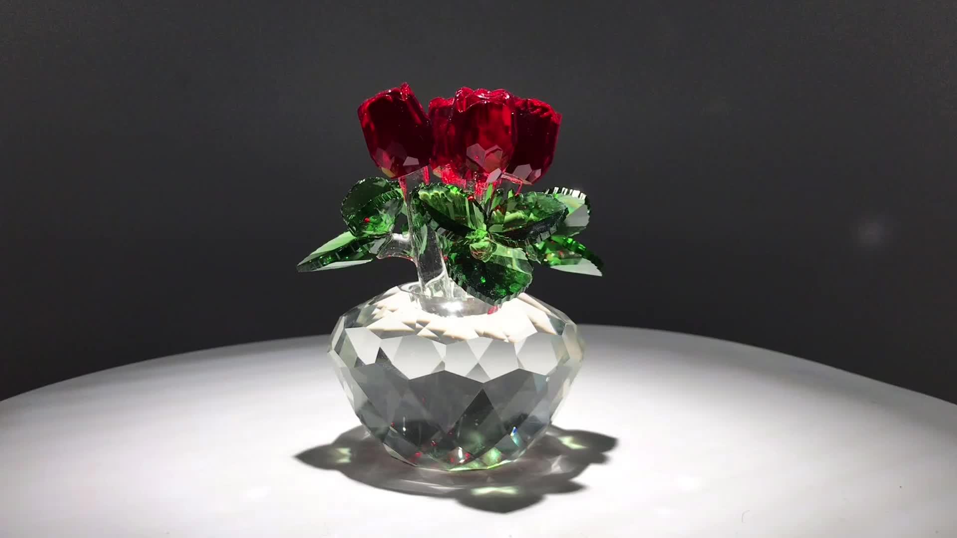 wholesale top k9 crystal rose flower home decor wedding gift Dreams Ornament souvenir valentine gift rose flower paperweight