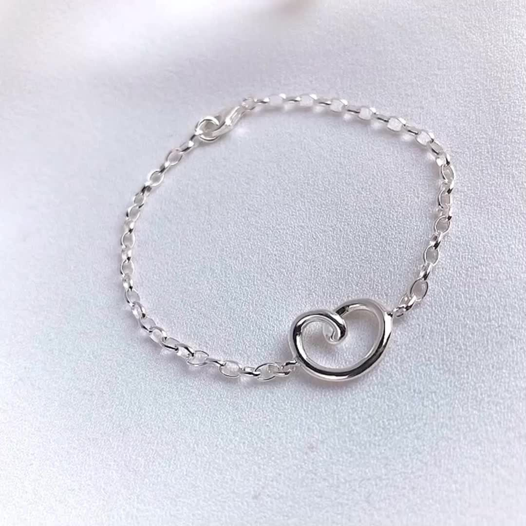 L337 China factory Sterling silver heart knot bracelet by Moyu