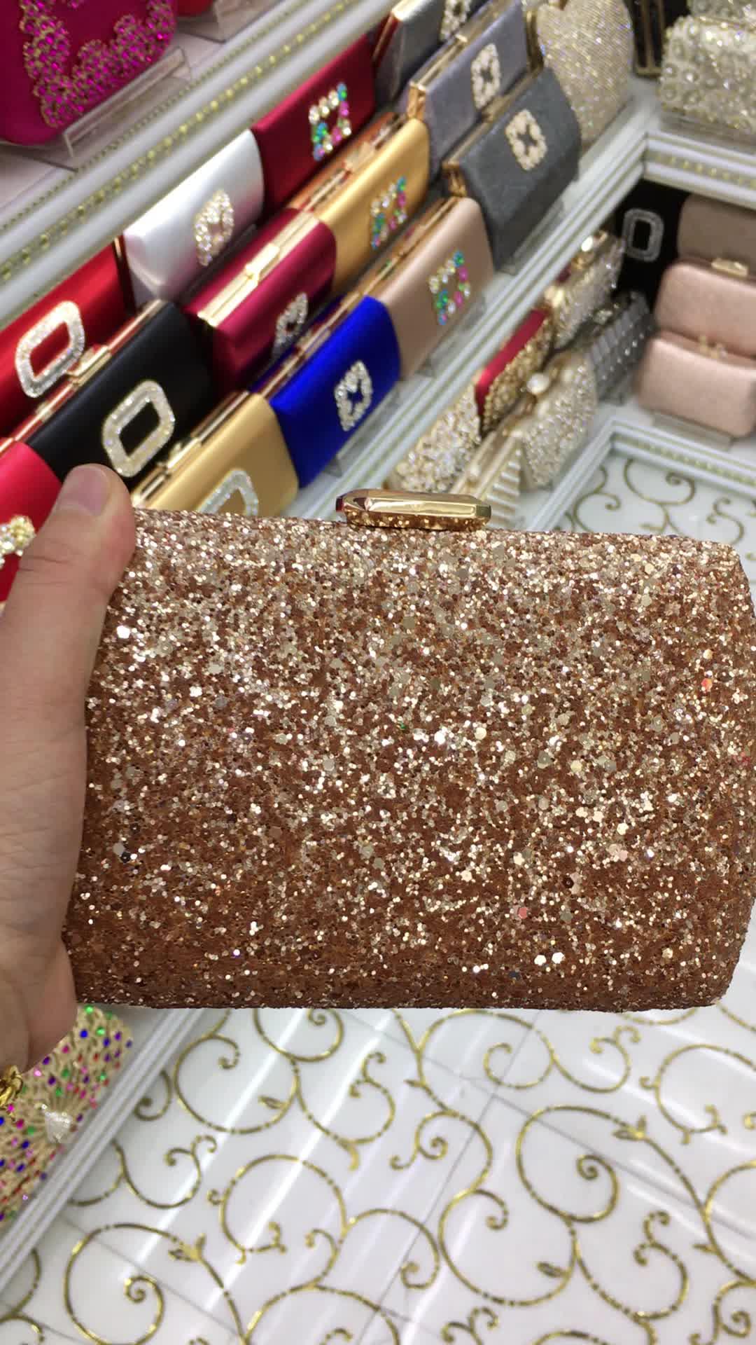 Fashion Women's  Box Clutch With Crystal  Evening Bag