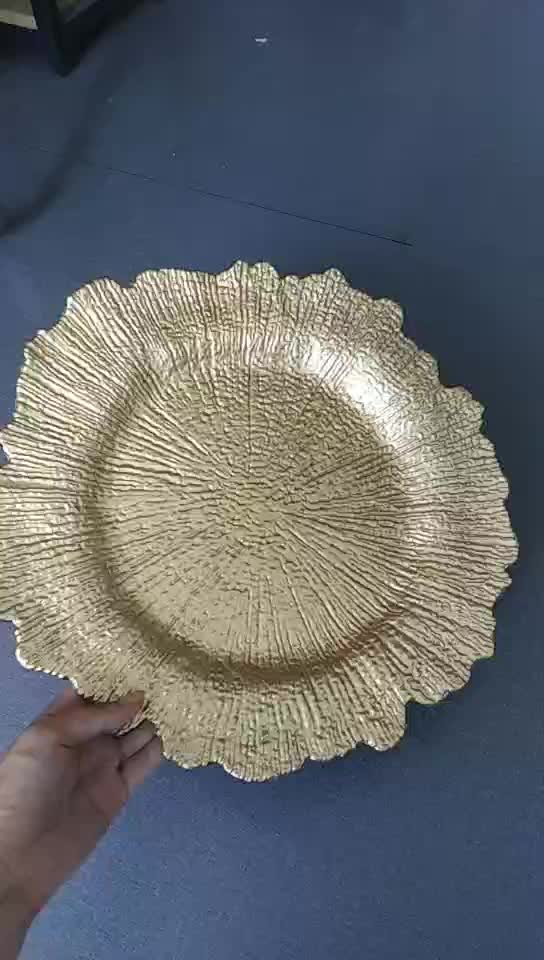 Round 13 inch Plastic Charger Plates with Electroplating Process