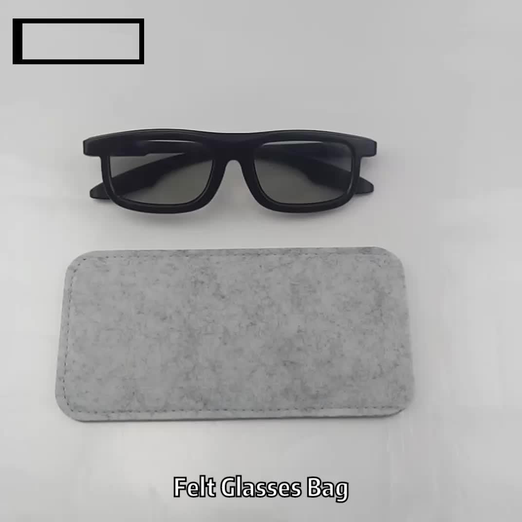 Personalized handmade durable black eco-friendly felt sunglasses case