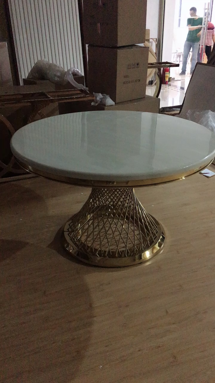 White marble and gold stainless steel dining table round dinner table set
