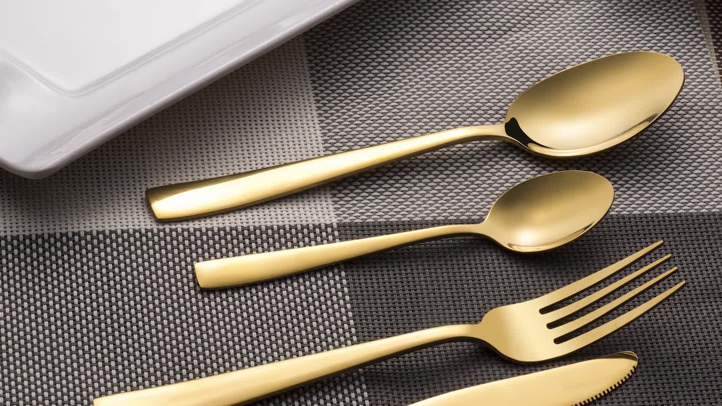 20 Pieces Stainless Steel Golden Cutlery Set With Dinner Knife Fork Spoons Flatware