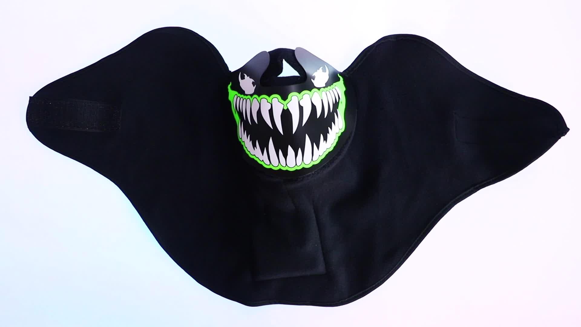 LED lueur parti masque activé par le masque à l'aide pour le festival d'halloween, boîtes de nuit