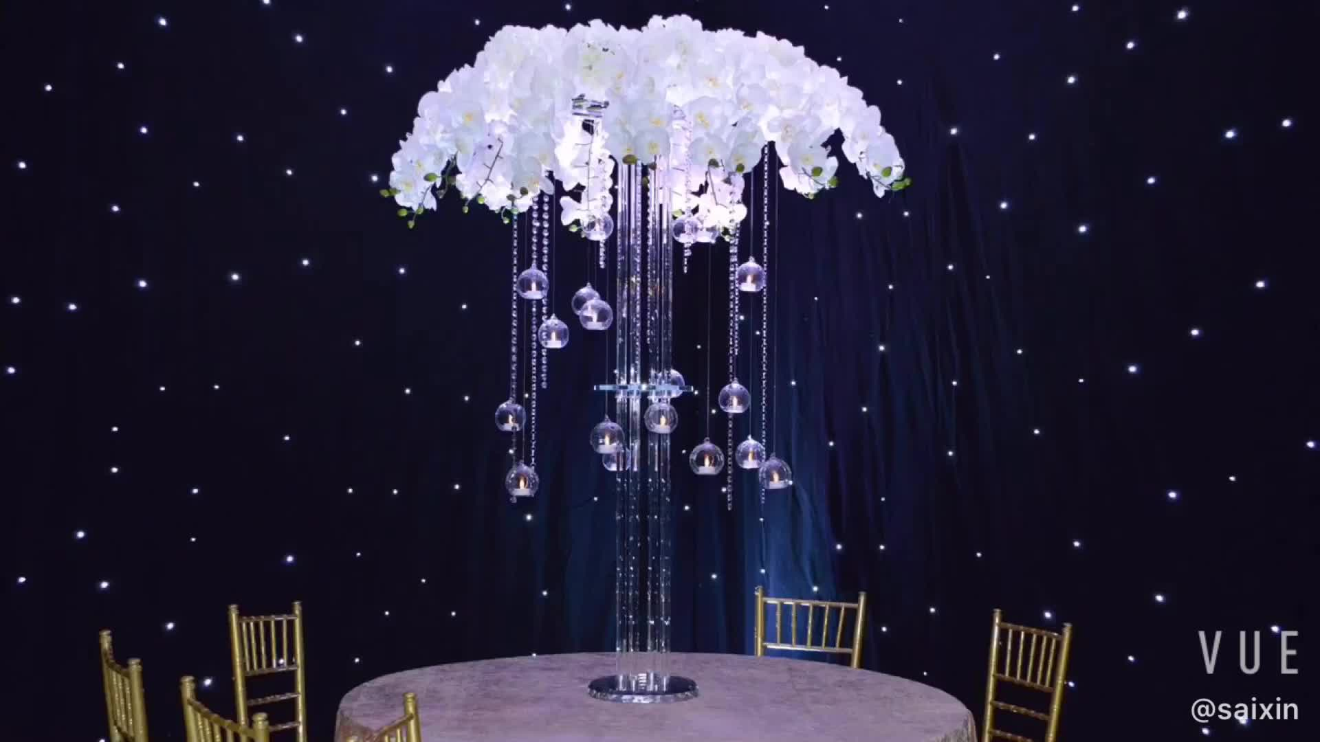 ZT-215 Large artificial flower centerpieces glass stands  for weddings