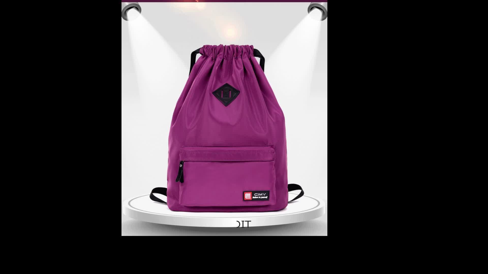 Custom Waterproof Gym Backpack Bag Nylon Drawstring Backpack Bag With Pocket