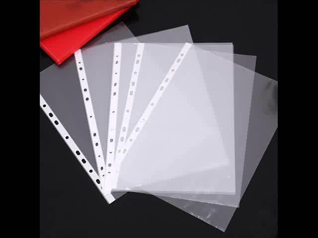 100 Sheets A4 Punched Pocket 11 Holes Plastic File Bag Fashional Clear Sheet Protectors