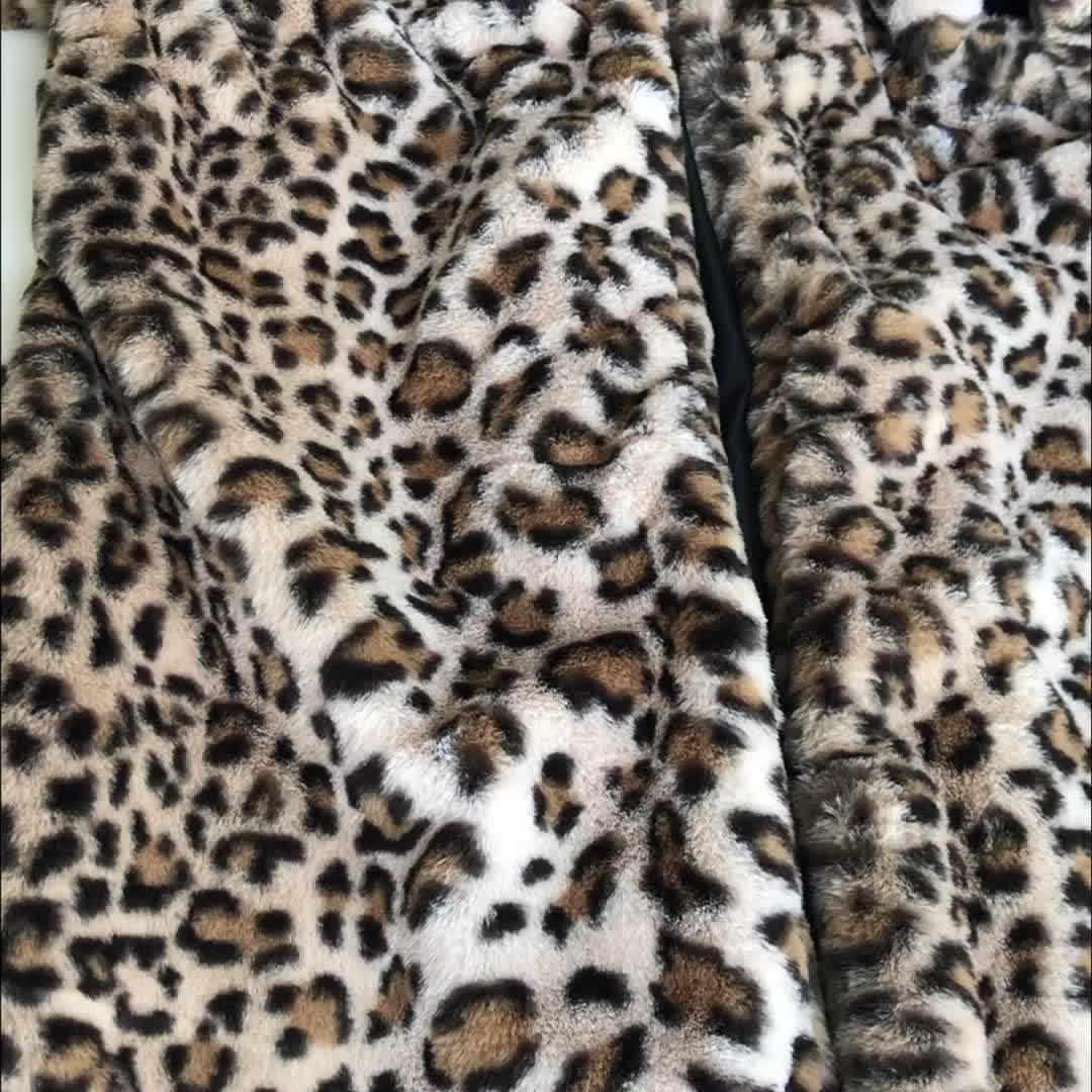 महिलाओं लंबी फर कोट अशुद्ध फर सर्दियों तेंदुए कोट
