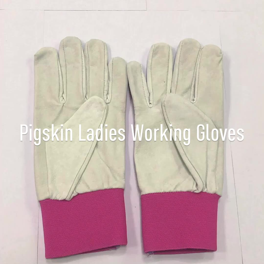 Flexible Fit Wrist Leather General Purpose Work Gloves In Pink