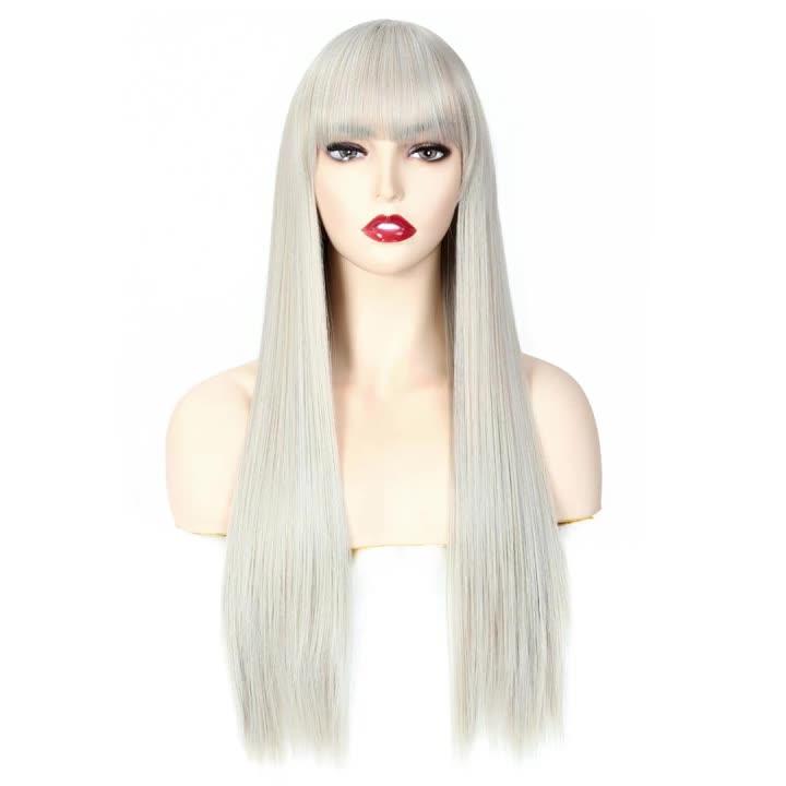 ยาวตรงวิกผมสังเคราะห์กับ BLUNT Bangs สำหรับผู้หญิงเส้นใยสังเคราะห์ Wigs 26 นิ้วโรงงานทั้งราคา
