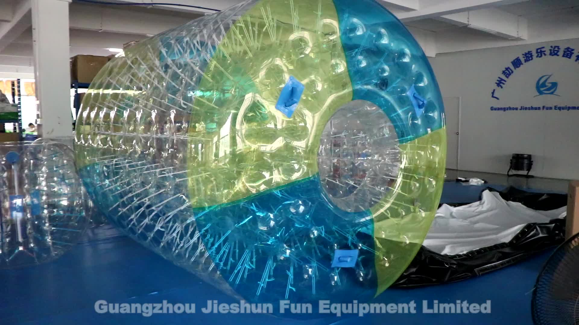 3.5m long large 1.0mm TPU top quality adult inflatable water roller human hamster wheel