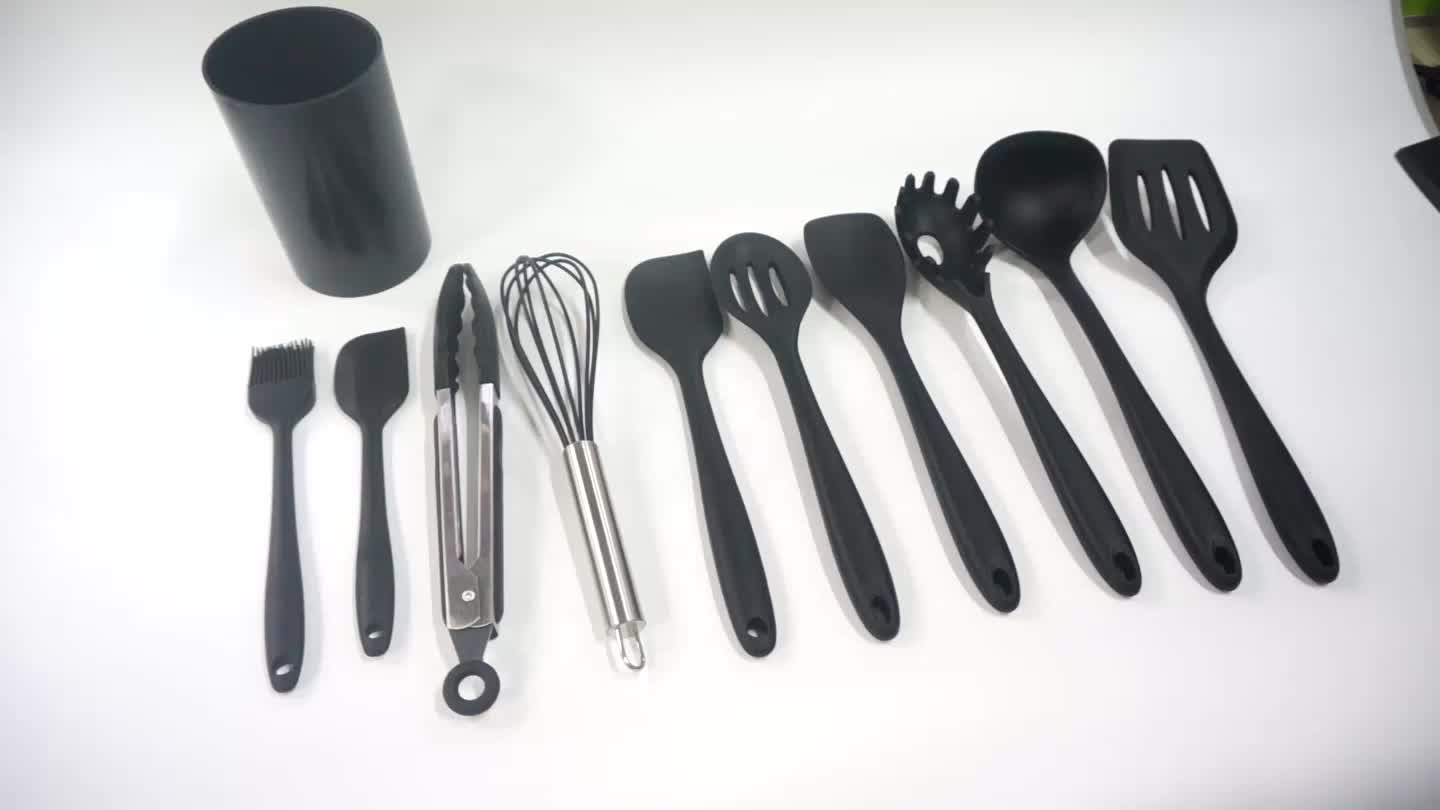 Suppliers Promotional Silicone Kitchen Accessories Tools Cooking Kitchenware Set Of 10 Piece
