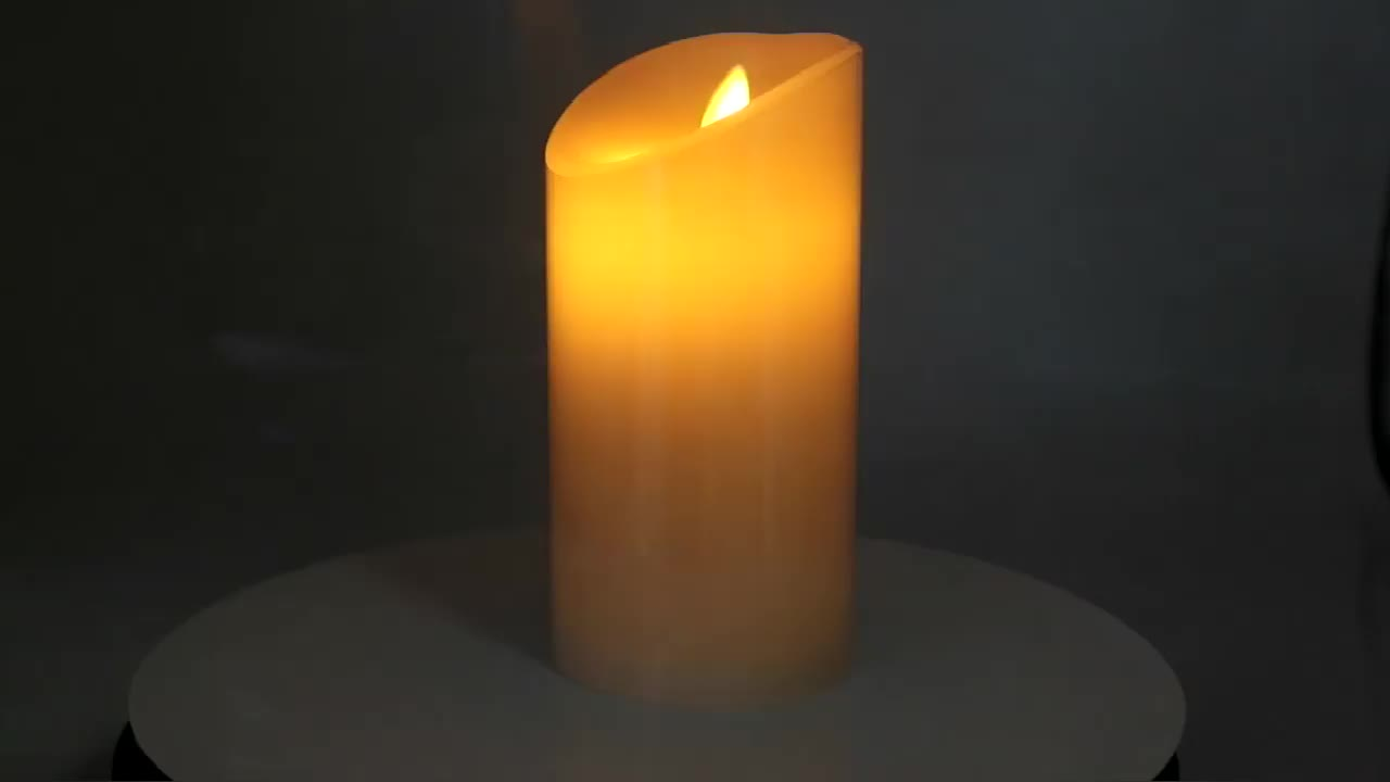 Flameless Ivory Real Wax Pillar Include Dancing flame Led Candle with infrared remote controller