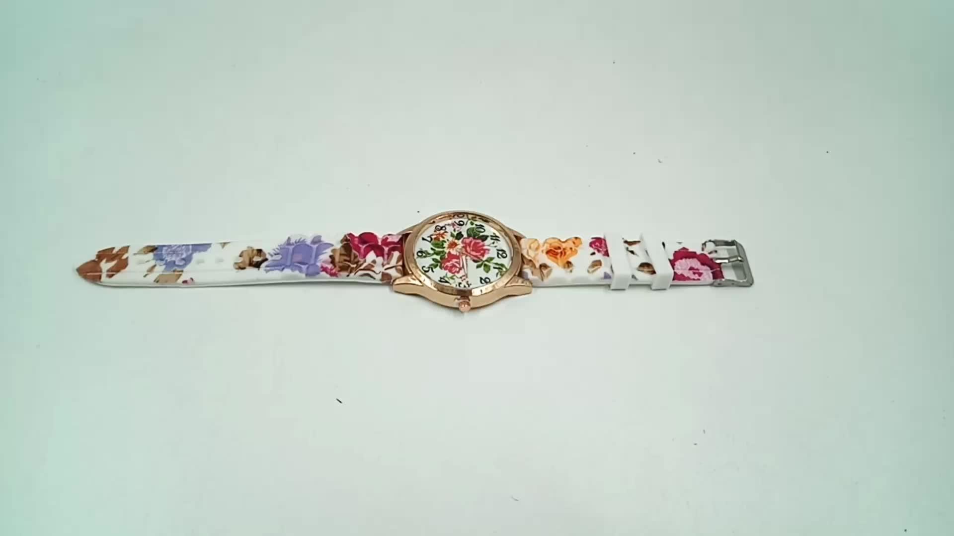 Amazon Hot Selling Women Chic Silicone Strap Flower Style Jelly Sports Analog Quartz Wrist Watch
