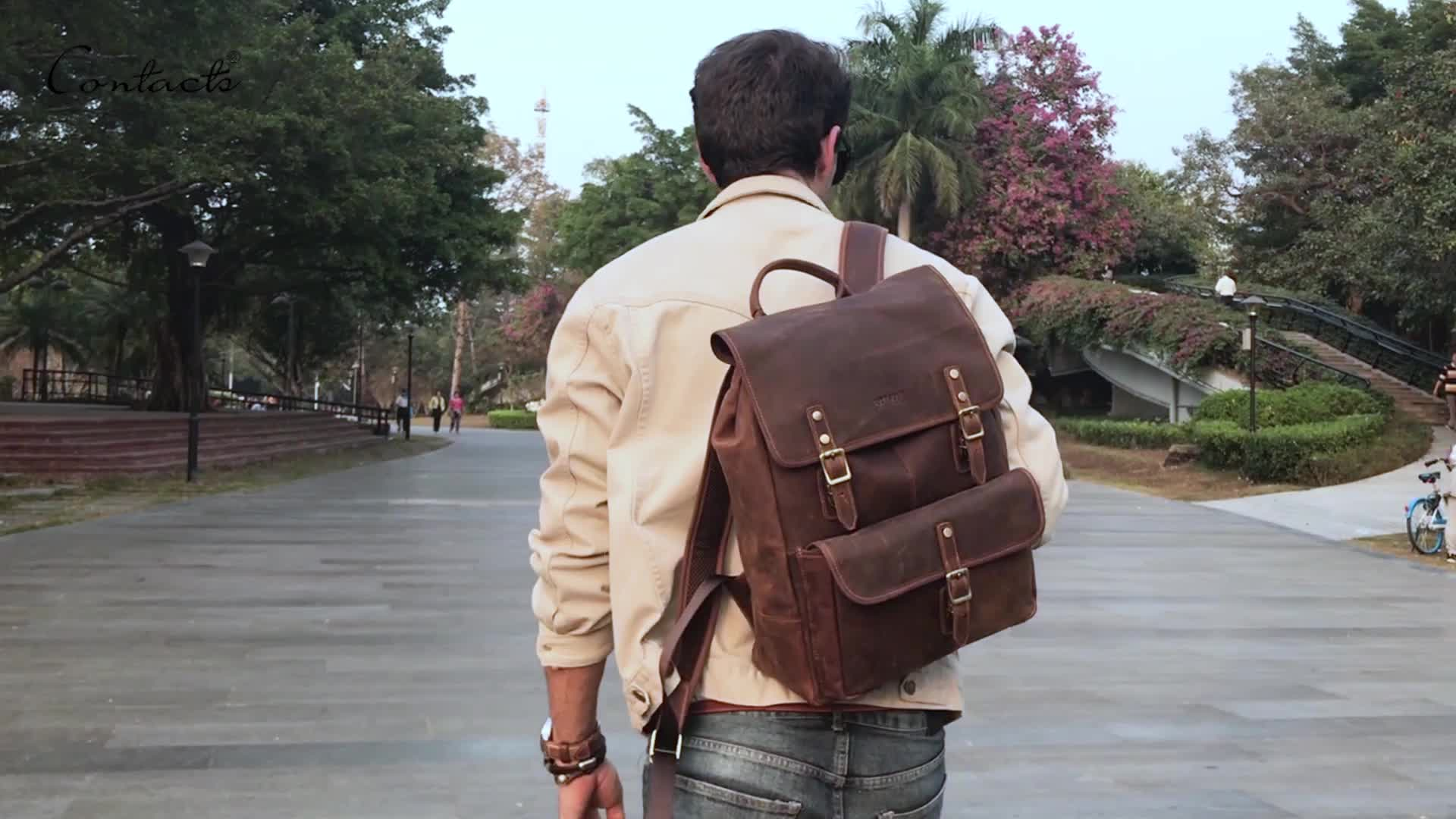 wholesale Contact's genuine cow leather 13 inch laptop backpacker custom mens travel backpacker in low price