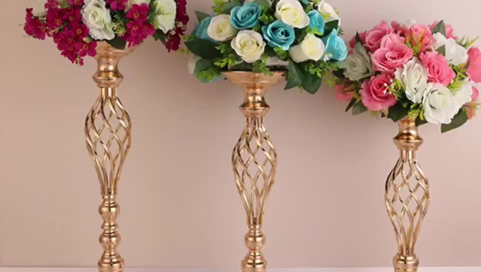 งานแต่งงานทองเงินโลหะดอกไม้แจกันเทียน