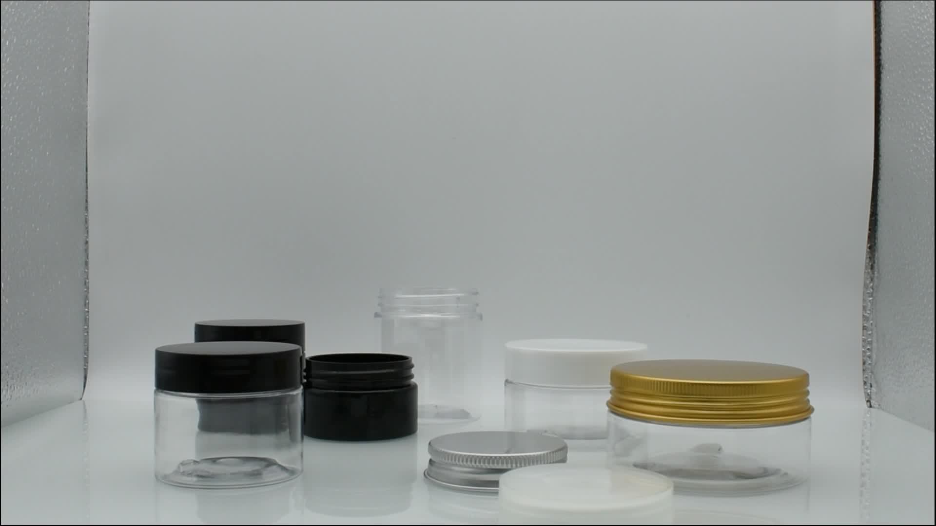 1 oz 2oz 4oz 30ml 40ml 50ml 60ml 80ml 100ml 120ml di plastica trasparente in PET jar jar barattolo di plastica con coperchio in alluminio interno trasparente di tenuta