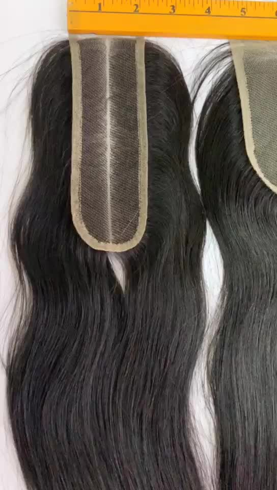 Factory price 100% human virgin hair Body wave 4x4'' brazilian curly lace closure