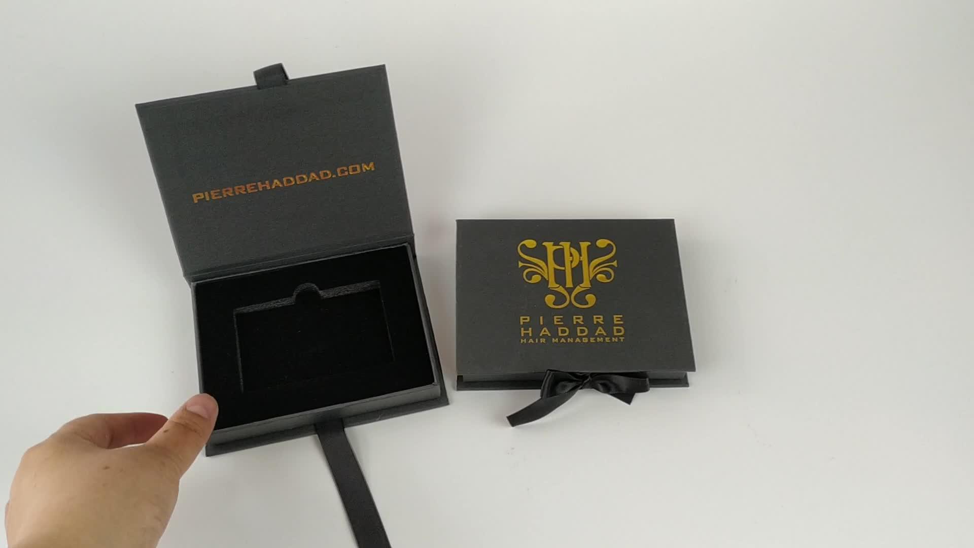 custom luxury paper cardboard packaging black gift box for membership card