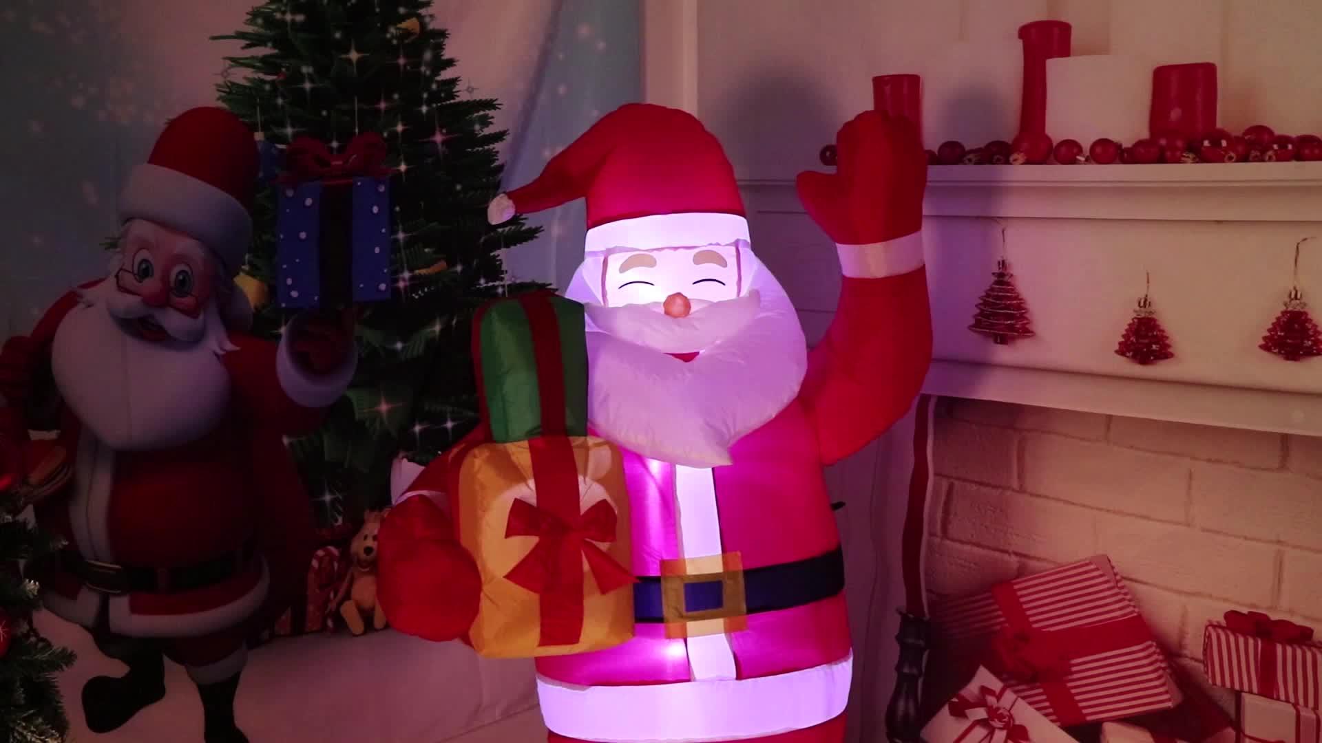 Ourwarm 5ft 야외 크리스마스 장식 LED 조명 풍선 산타 클로스