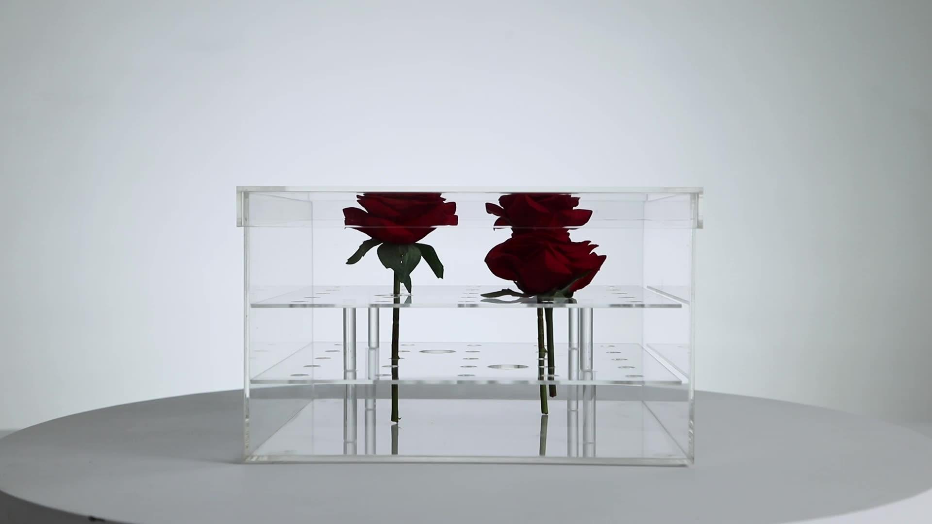 높은 품질 투명 아크릴 장미 꽃 상자 우주 맞춤 공장 수제 도매 사용자 정의 뜨거운 판매