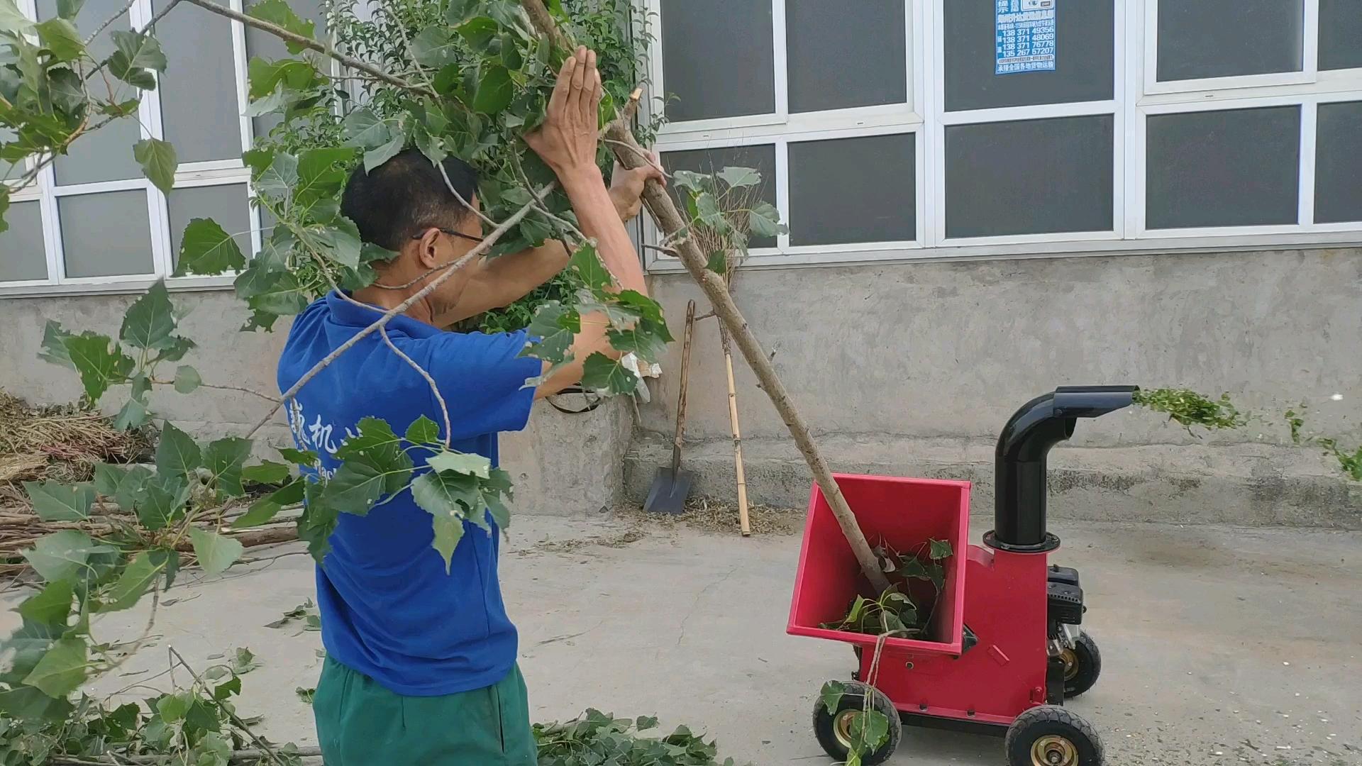 Weiwei garden wood chipper shredder branch stalk chips log crusher machine 7.5hp gasoline engine