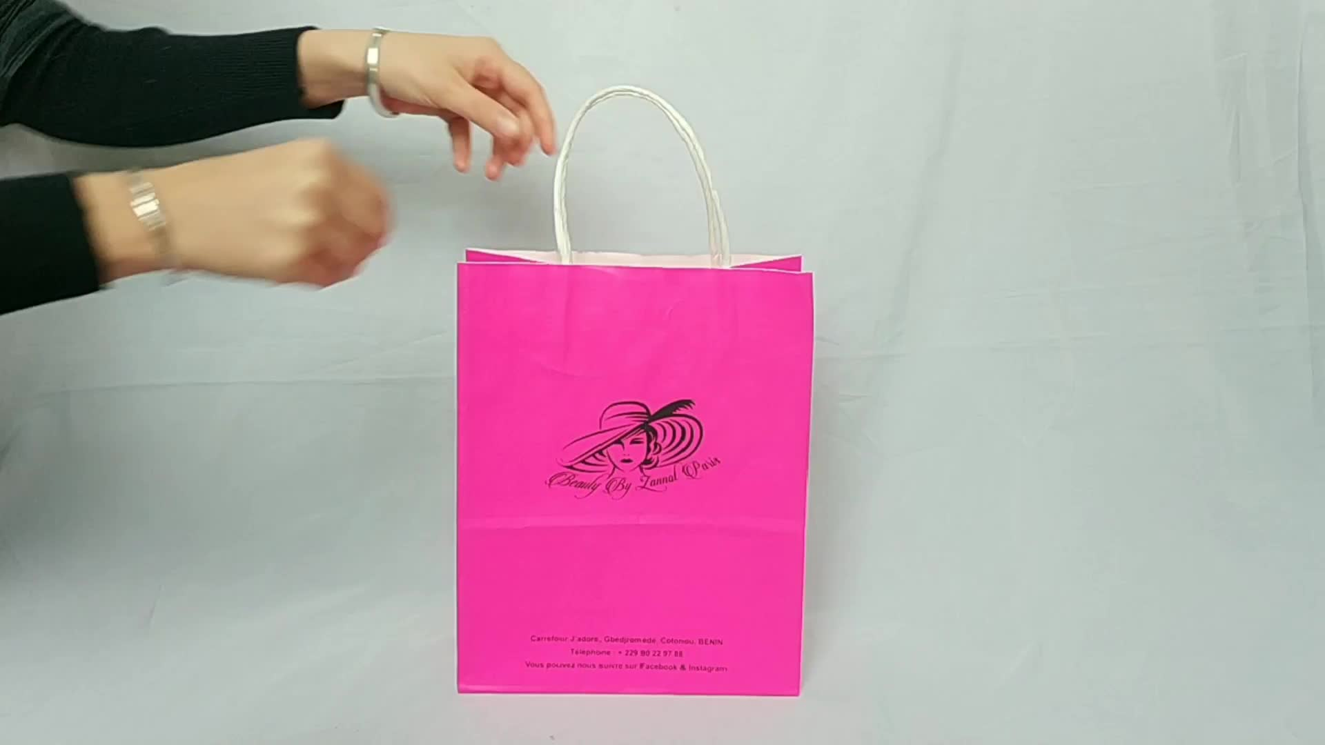 Environmental and recycled colorful craft Kraft paper bag with handle