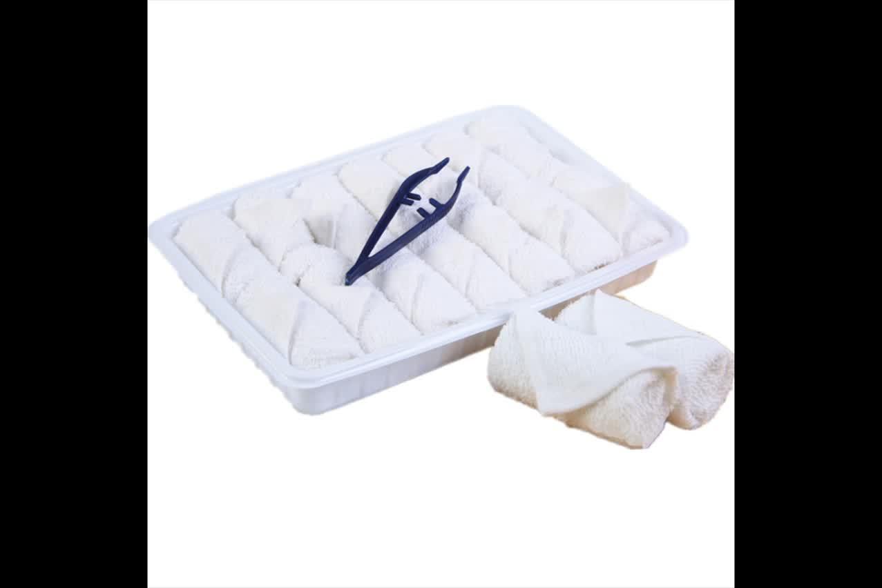 थोक कस्टम डिस्पोजेबल एयरलाइन गर्म और ठंडे oshibori तौलिया