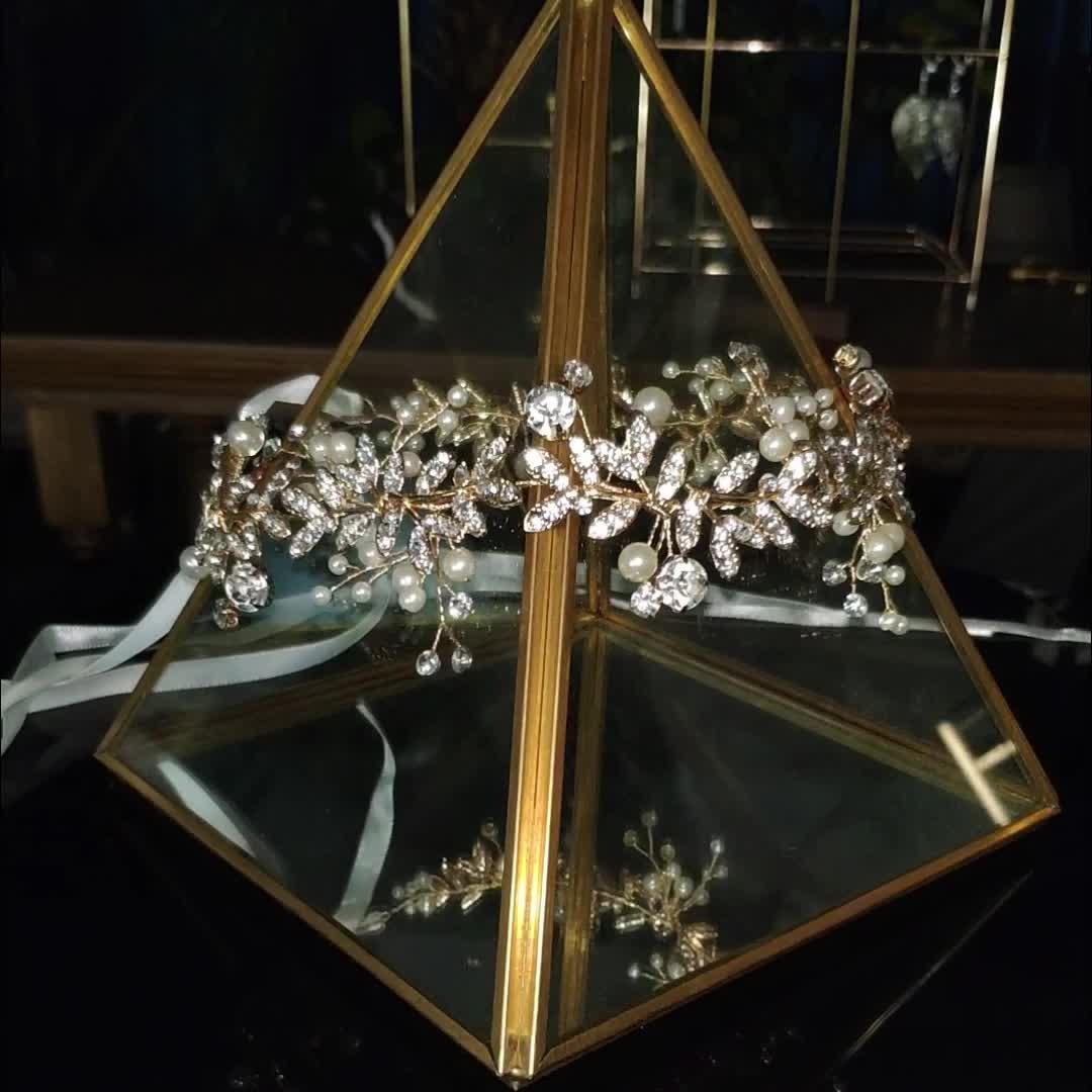 2020 Terbaru Desain Crystal Pearl Kepala Pernikahan Rambut Aksesoris Bridal Bunga Rambut Band