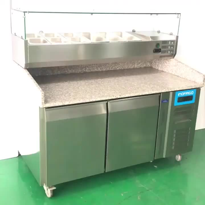 Marble Top Refrigerated Pizza Counter With Salad Bar - Buy ...