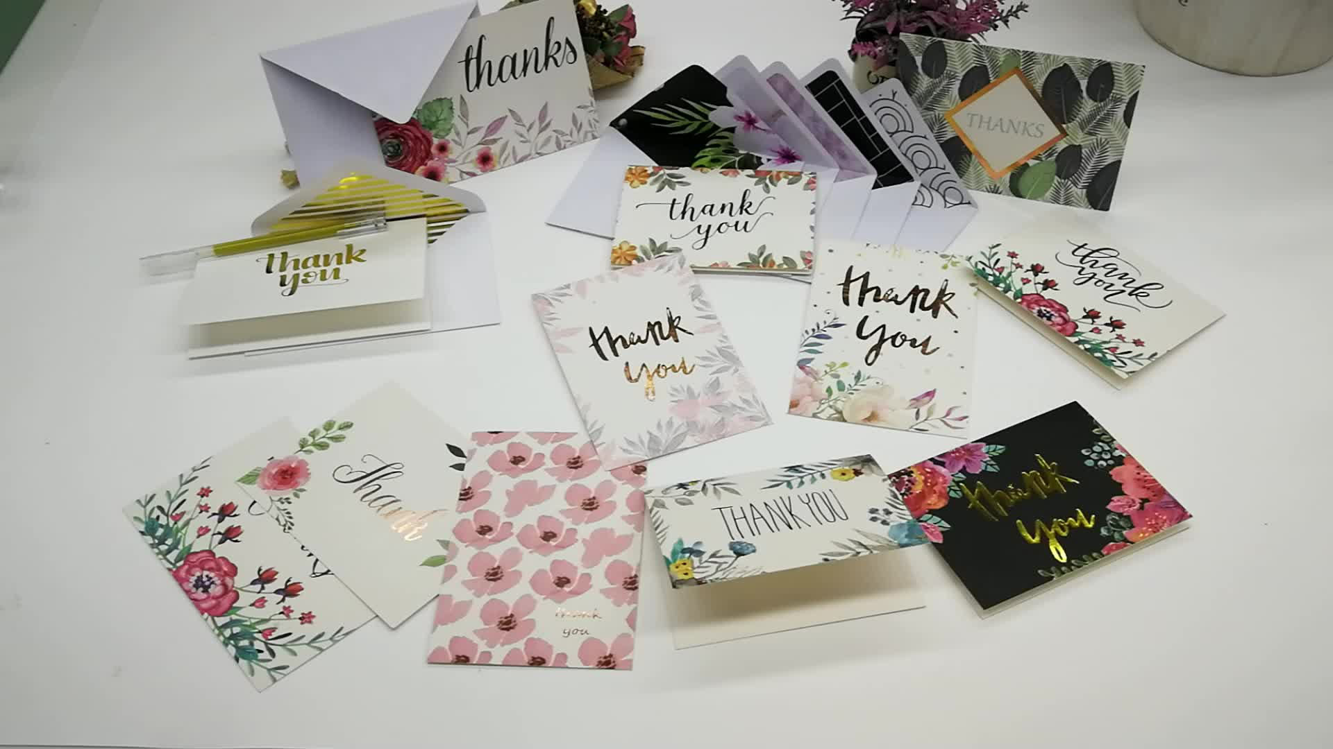 Gold Foil Printing 4x6 Floral Thank You Card With Envelope