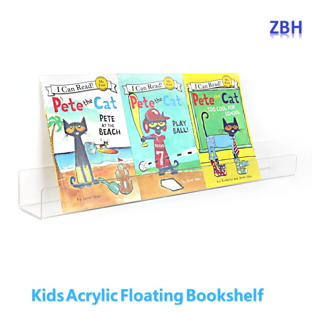 15 Inch Acrylic Bookshelf Clear Wall Mounted Floating