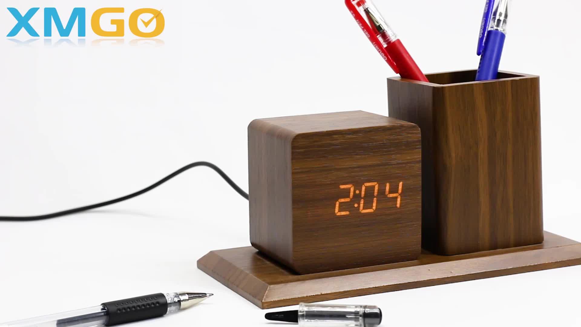 KH-WC009 Office Desktop Cube Digital Alarm LED Wooden Clock With Pen Holder