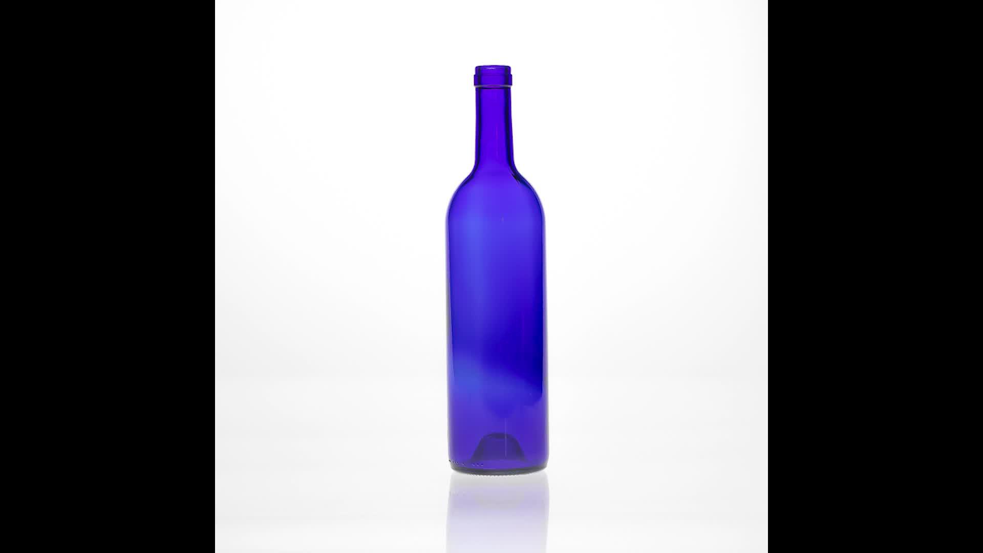 750 ml toptan yuvarlak şekil kobalt mavi cam şarap şişesi mantar ile votka için