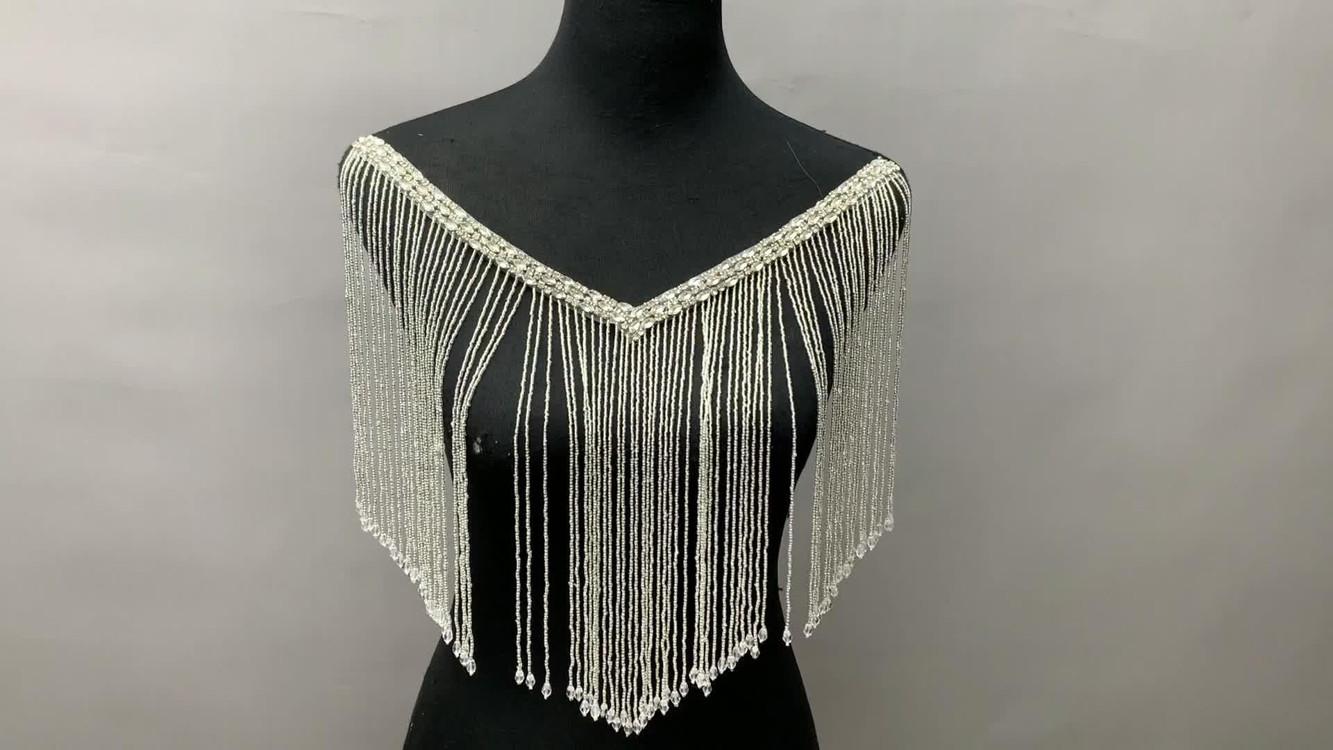 Hotsell toptan boncuklu püskül saçak ve düzeltir gelin düğün akşam elbise taklidi yaka yaka aplike
