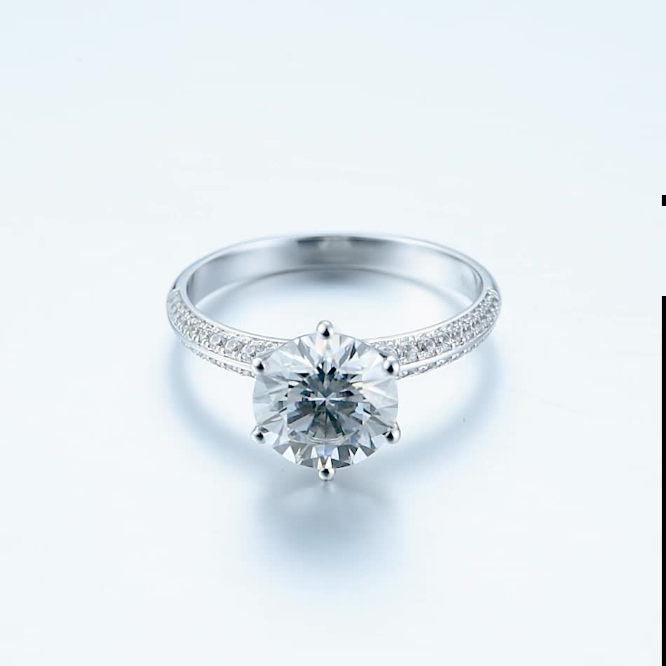 moissanite stone diamond 2 carat engagement ring wedding jewelry 18 k white gold promise rings