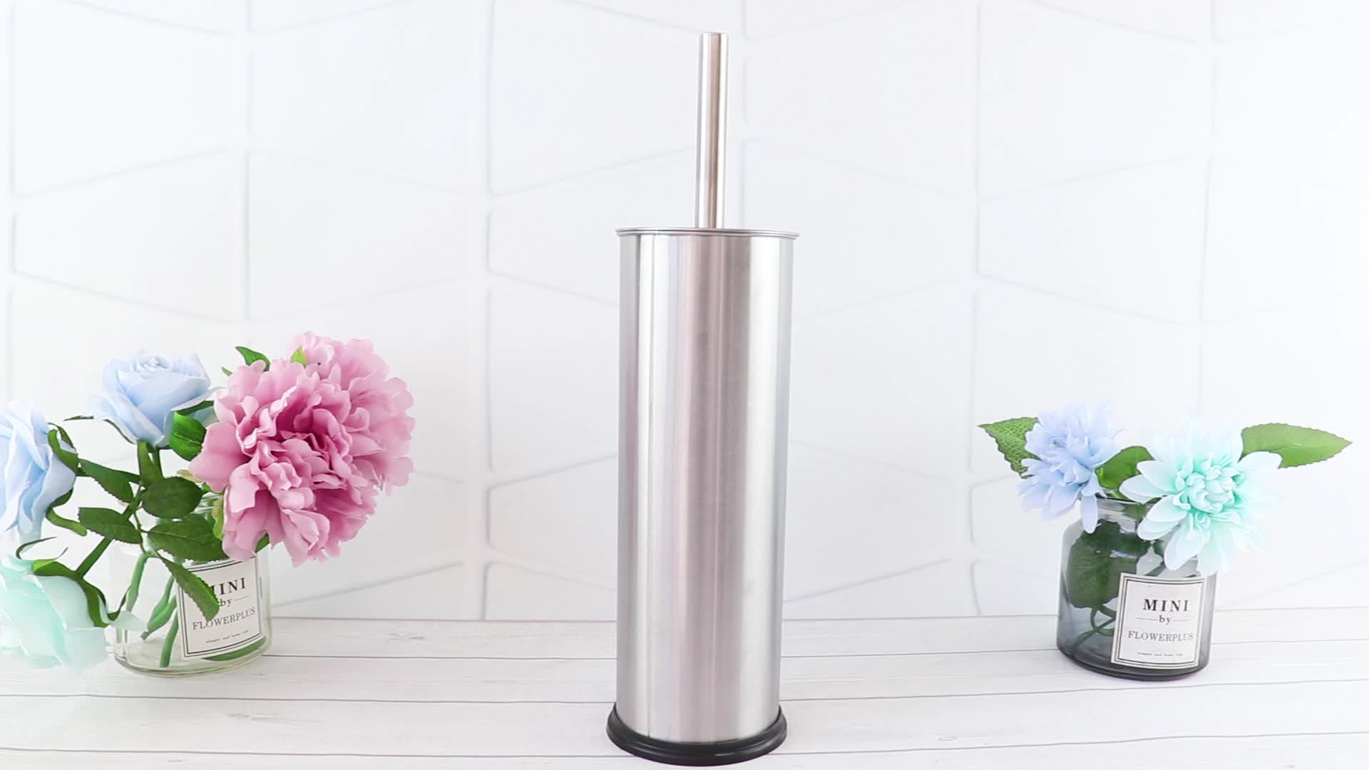 Factory price BSCI certification bathroom  stainless steel toilet brush and holder  set toilet cleaner brush toilet brush holder
