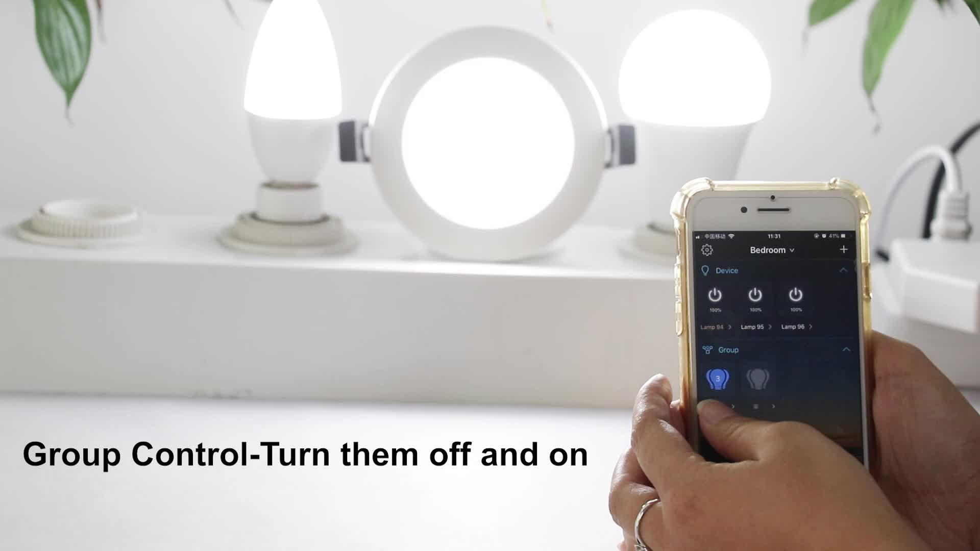 Factory smart home bluetooth Mesh led downlight 5w RGB bulb light