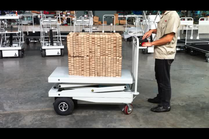 4 Wheel Electric Platform Cart Hand Trolley With Fence For Material Handling