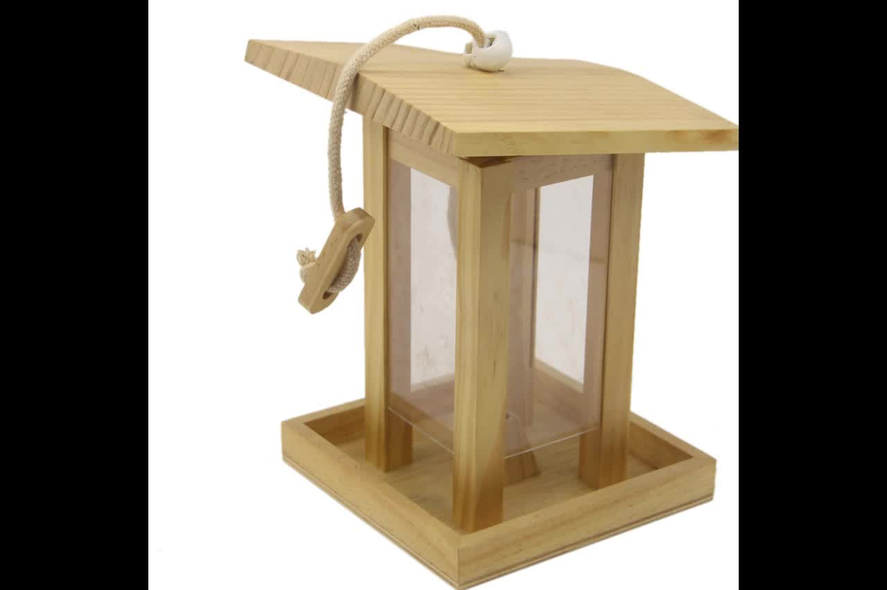 handmade house shape Garden decorative wooden Bird feeder