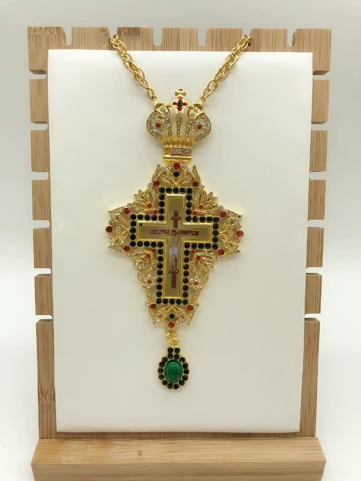 ศาสนาป้ายพระเยซูคุณภาพสูง Orthodox คาทอลิก Cross จี้สร้อยคอ