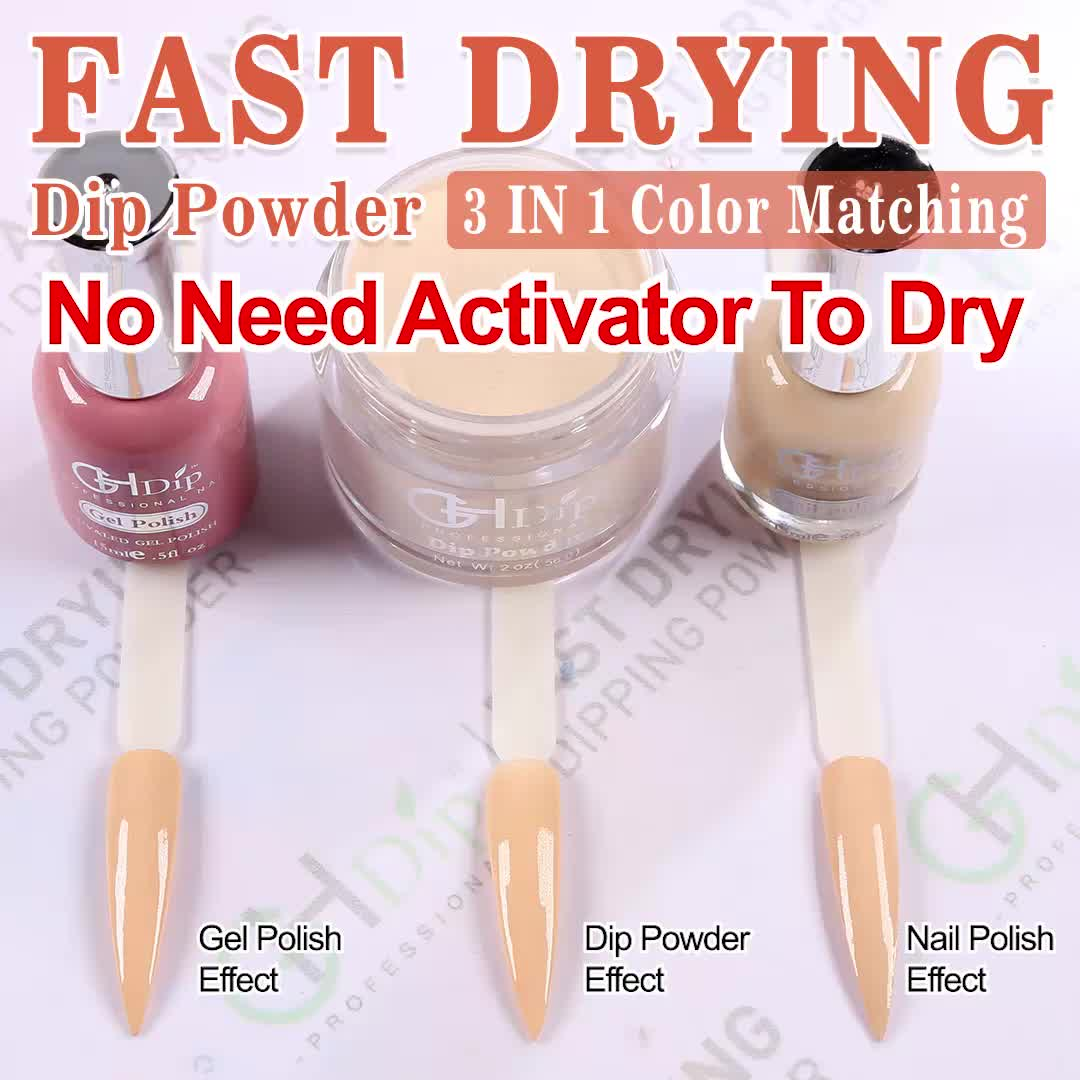 2019 Fast Drying Dip Powder 3 in 1 set  Color match Gel Nail Polish and Lacquer