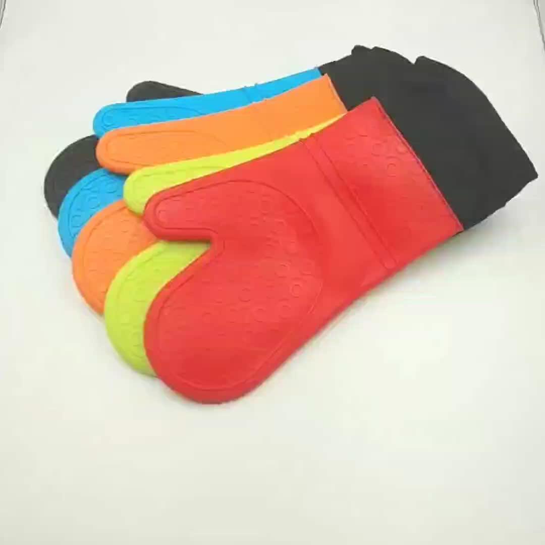Impermeable resistente al calor de silicona guante de algodón Anti-deslizamiento Cocina Barbacoa cocinar hornear guantes manoplas de horno