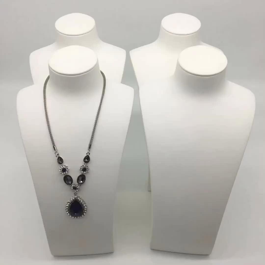XIANGYU 공장 도매 White PU Leather Jewelry 마네킹 바스트 Model Necklace 디스플레이 서