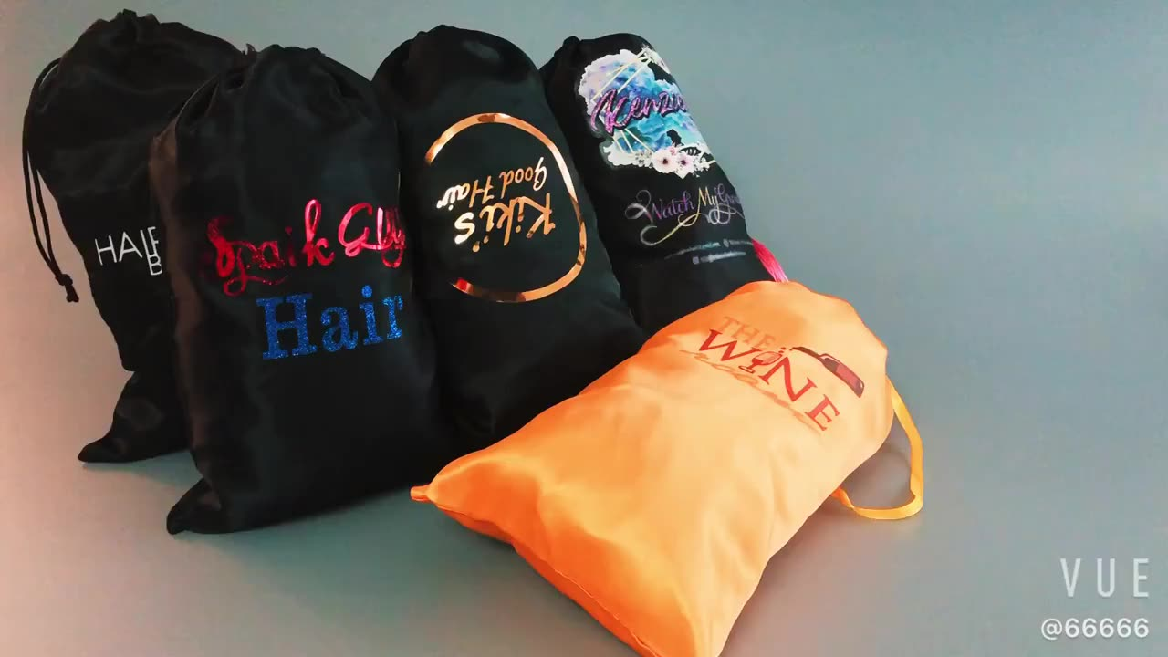 Custom luxury virgin hair personalized customized satin bags for packaging