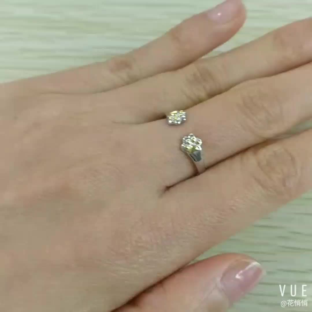 Fashion Jewelry Open Ring Cute Dog Paws 925 Sterling Silver Couple Rings